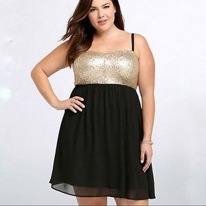 Torrid Black Chiffon and Gold Sequin Party Dress